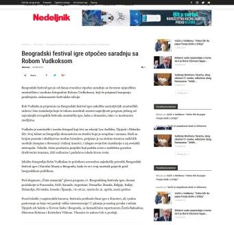 0509 - nedeljnik.rs - Beogradski festival igre otpoceo saradnju sa Robom Vudkoksom