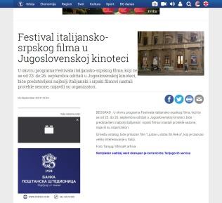 0609 - tanjug.rs - Festival italijansko-srpskog filma u Jugoslovenskoj kinoteci