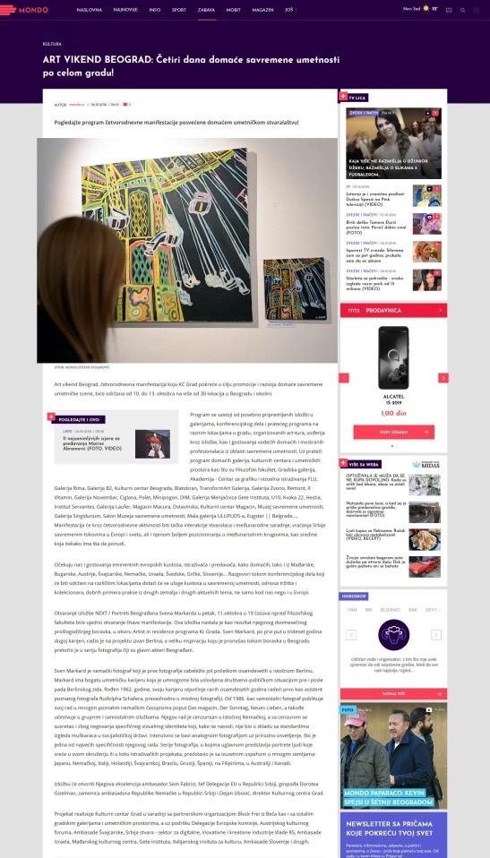 0910 - mondo.rs - ART VIKEND BEOGRAD- Cetiri dana domace savremene umetnosti po celom gradu