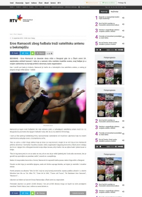 1309 - rtv.rs - Eros Ramacoti zbog fudbala trazi satelitsku antenu u bekstejdzu