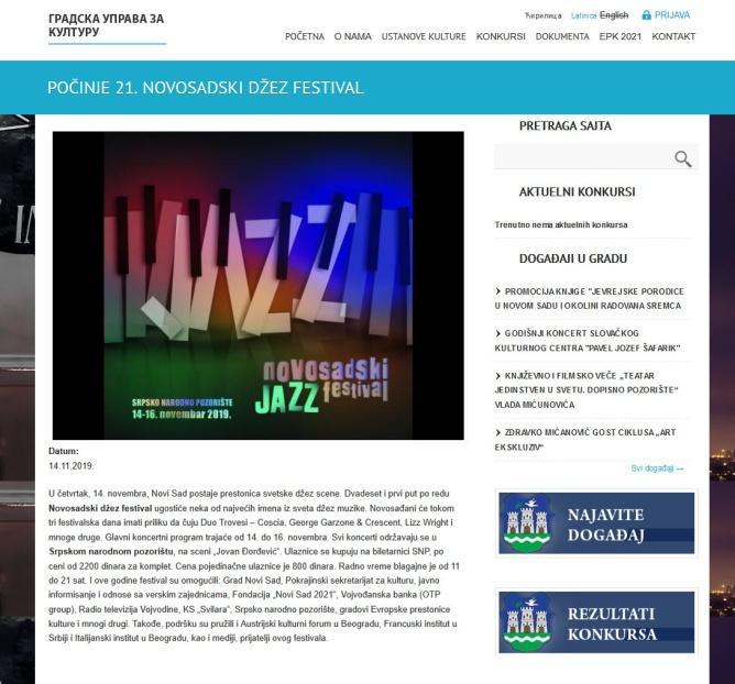 1411 - kultura.novisad.rs - POCINJE 21. NOVOSADSKI DZEZ FESTIVAL
