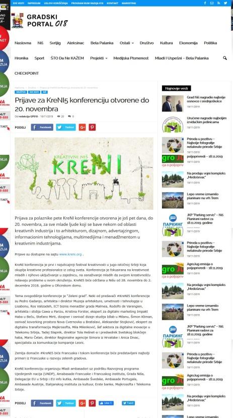 1611 - gradskiportal018.rs - Prijave za KreNI5 konferenciju otvorene do 20. novembra