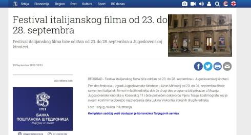 1909 - tanjug.rs - Festival italijanskog filma od 23. do 28. septembra