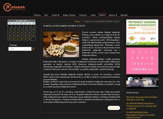 2011 - izlazak.com - IV NEDELJA ITALIJANSKE KUHINJE U SVETU