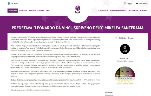 2109 - teatar.bitef.rs - PREDSTAVA LEONARDO DA VINCI. SKRIVENO DELO MIKELEA SANTERAMA