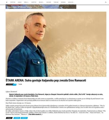 2309 - balkanekspresrb.rs - STARK ARENA- Sutra gostuje itaijanska pop zvezda Eros Ramacoti