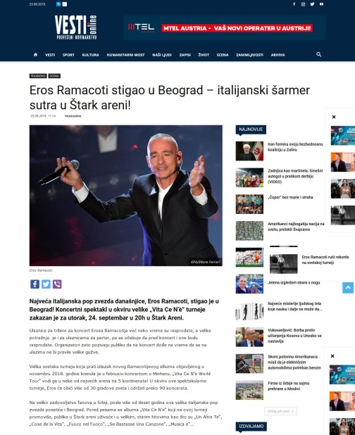 2309 - vesti-online.com - Eros Ramacoti stigao u Beograd - italijanski sarmer sutra u Stark areni