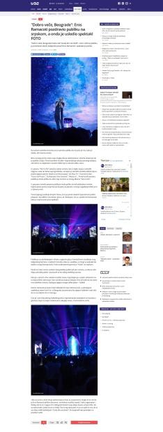 2409 - b92.net - Dobro vece, Beograde- Eros Ramacoti pozdravio publiku na srpskom, a onda je usledio spektakl