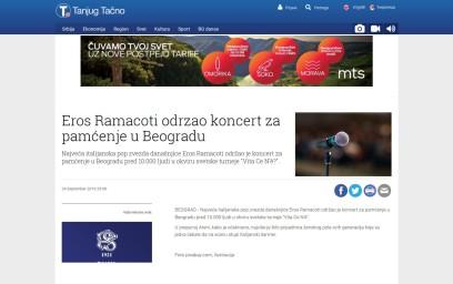 2409 - tanjug.rs - Eros Ramacoti odrzao koncert za pamcenje u Beogradu