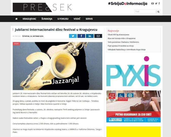 2410 - pressek.rs - Jubilarni Internacionalni dzez festival u Kragujevcu
