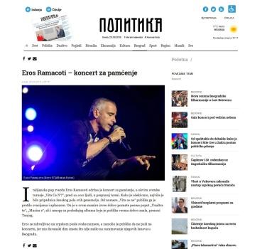 2509 - politika.rs - Eros Ramacoti - koncert za pamcenje