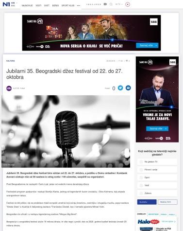 2509 - rs.n1info.com - Jubilarni 35. Beogradski dzez festival od 22. do 27. oktobra