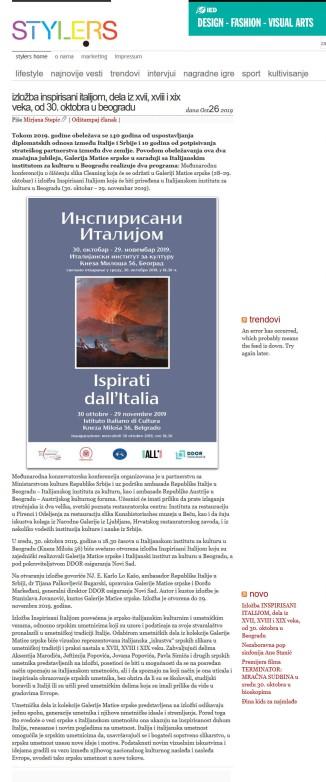 2610 - style.rs - Izlozba INSPIRISANI ITALIJOM, dela iz XVII, XVIII i XIX veka, od 30 oktobra u Beogradu
