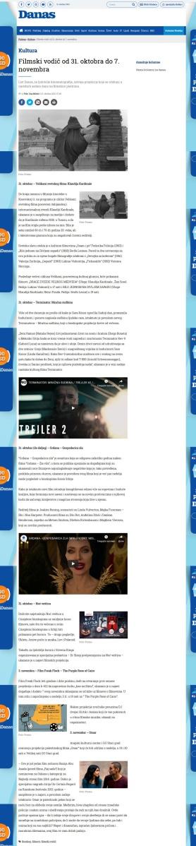 3110 - danas.rs - Filmski vodic od 31. oktobra do 7. novembra