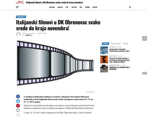 1110 - bgd365.rs - Italijanski filmovi u DK Obrenovac svake srede do kraja novembra