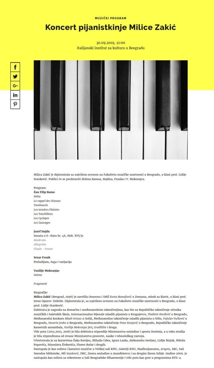 1709 - kcb.org.rs - Koncert pijanistkinje Milice Zakic