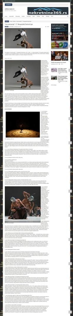 2011 - online-news.rs - ista senzacija - 17. Beogradski festival igre