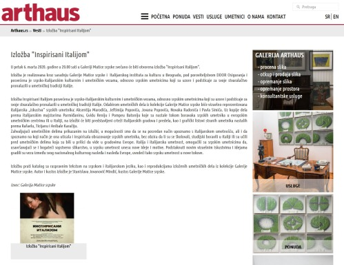 0503 - arthaus.rs - Izlozba Inspirisani Italijom
