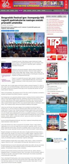 0503 - novosti.rs - Beogradski festival igre i kompanija NIS najavili spektakularne nastupe svetski priznatih umetnika