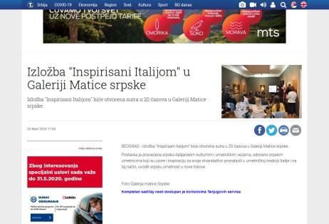 0503 - tanjug.rs - Izlozba Inspirisani Italijom u Galeriji Matice srpske