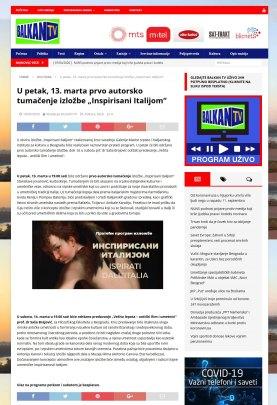1003 - balkantv.rs - U petak, 13. marta prvo autorsko tumacenje izlozbe Inspirisani Italijom
