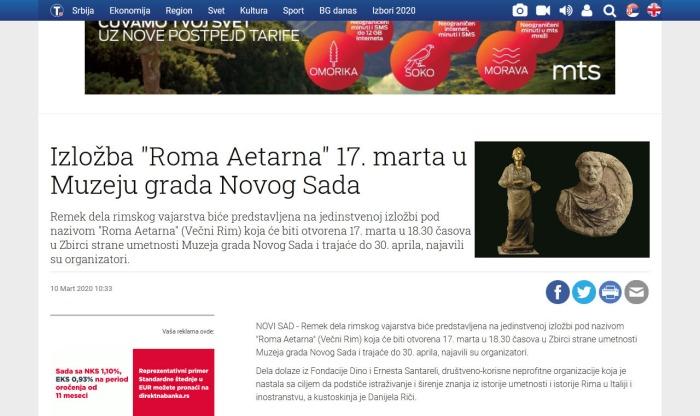 1003 - tanjug.rs - Izlozba Roma Aetarna 17. marta u Muzeju grada Novog Sada