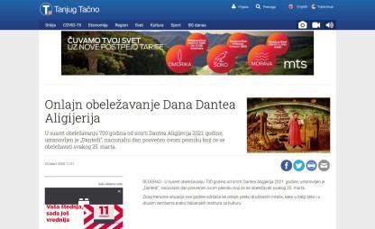 2303 - tanjug.rs - Onlajn obelezavanje Dana Dantea Aligijerija