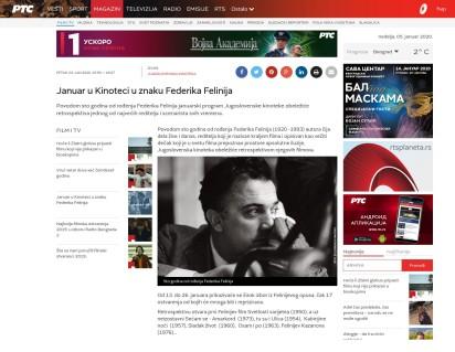 0301 - rts.rs - Januar u Kinoteci u znaku Federika Felinija