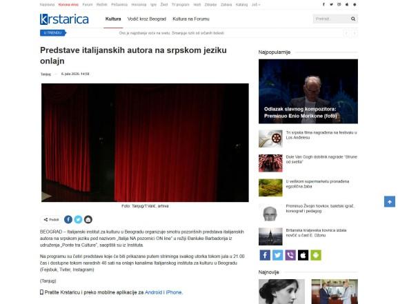 0607 - krstarica.com - Predstave italijanskih autora na srpskom jeziku onlajn