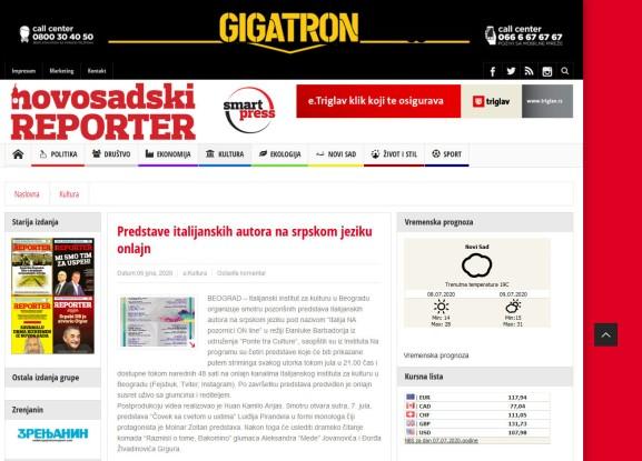 0607 - nsreporter.rs - Predstave italijanskih autora na srpskom jeziku onlajn