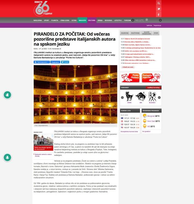 0707 - novosti.rs - Od veceras pozorisne predstave italijanskih autora na spskom jeziku