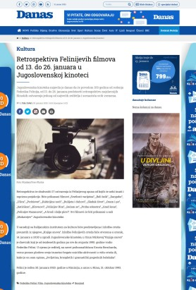 1001 - danas.rs - Retrospektiva Felinijevih filmova od 13. do 26. januara u Jugoslovenskoj kinoteci