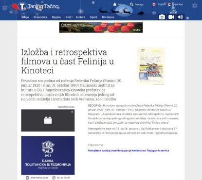 1001 - tanjug.rs - Izlozba i retrospektiva filmova u cast Felinija u Kinoteci