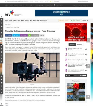 1206 - rtv.rs - Nedelja italijanskog filma u svetu - Fare Cinema