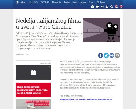 1206 - tanjug.rs - Nedelja italijanskog filma u svetu - Fare Cinema