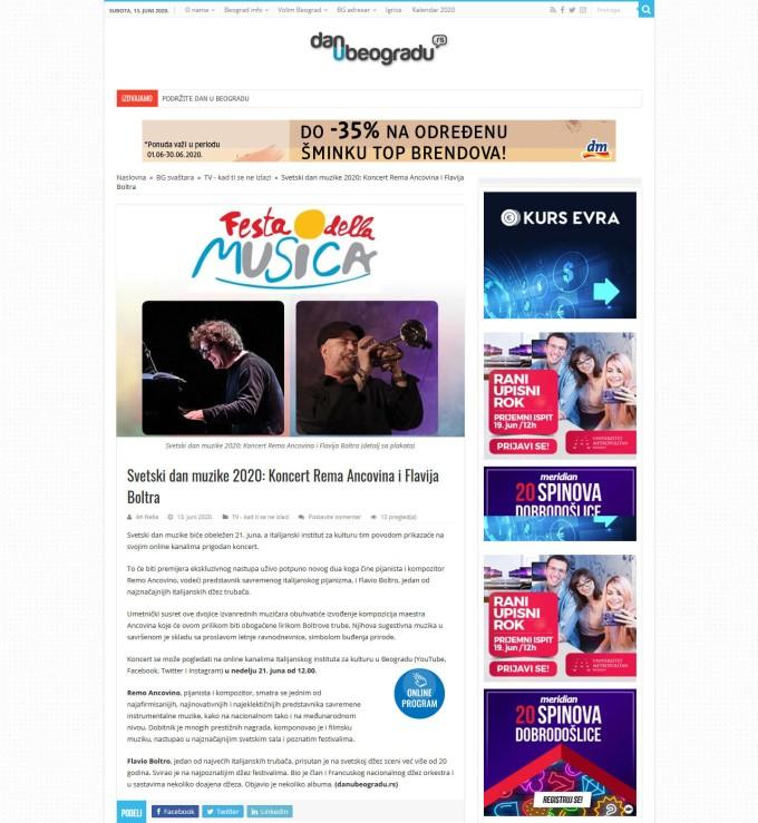 1306 - danubeogradu.rs - Svetski dan muzike 2020 Koncert Rema Ancovina i Flavija Boltra