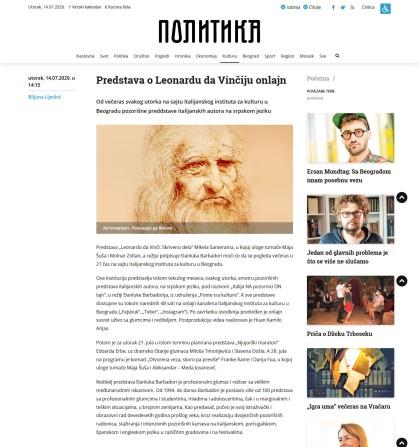 1407 - politika.rs - Predstava o Leonardu da Vinciju onlajn