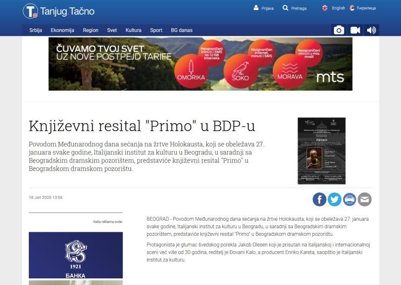 1801 - tanjug.rs - Knjizevni resital Primo u BDP-u