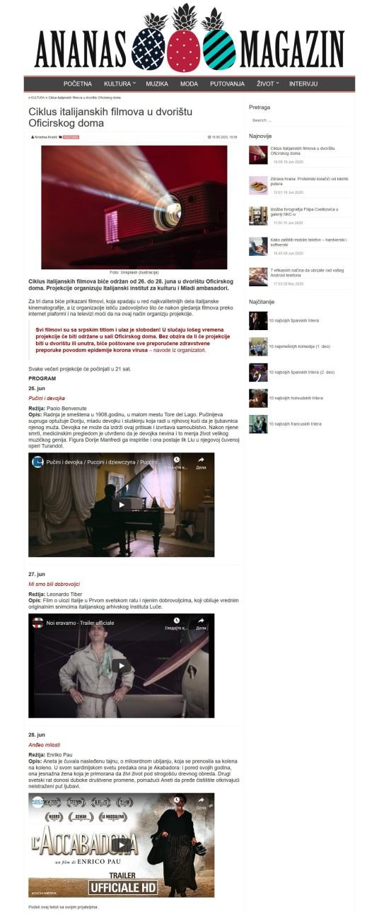 1906 - ananasmag.com - Ciklus italijanskih filmova u dvoristu Oficirskog doma