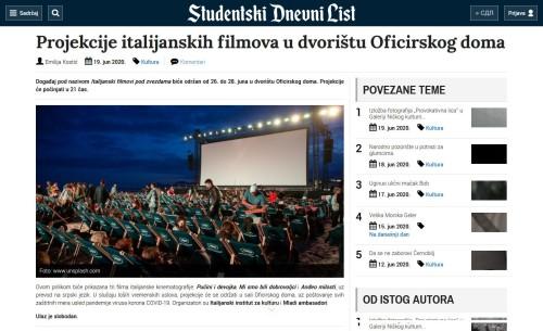 1906 - studnel.com - Projekcije italijanskih filmova u dvoristu Oficirskog doma