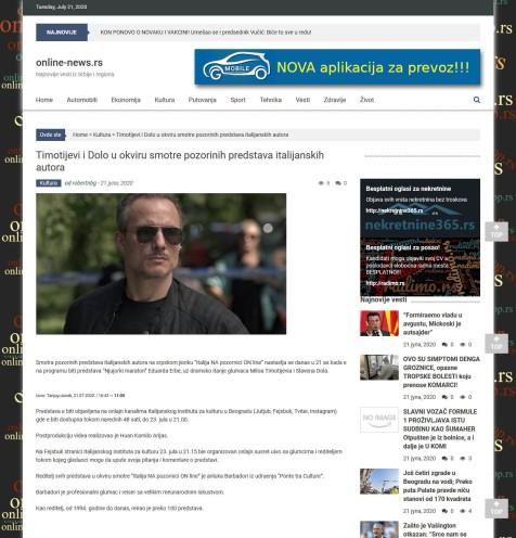 2107 - online-news.rs - Timotijevi i Dolo u okviru smotre pozorinih predstava italijanskih autora