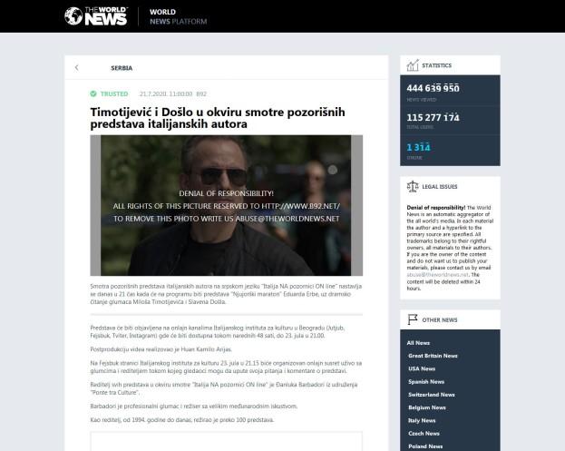 2107 - theworldnews.net - Timotijevic i Doslo u okviru smotre pozorisnih predstava italijanskih autora