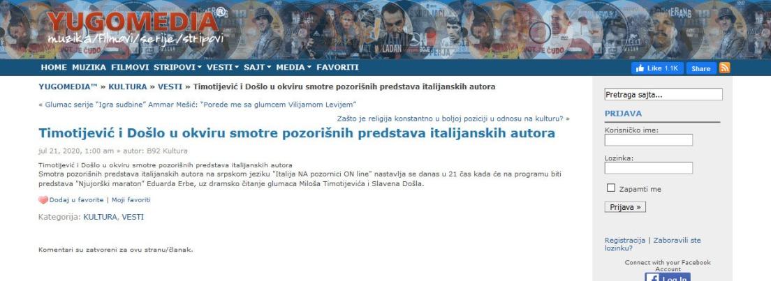 2107 - yugomedia.com - Timotijevic i Doslo u okviru smotre pozorisnih predstava italijanskih autora
