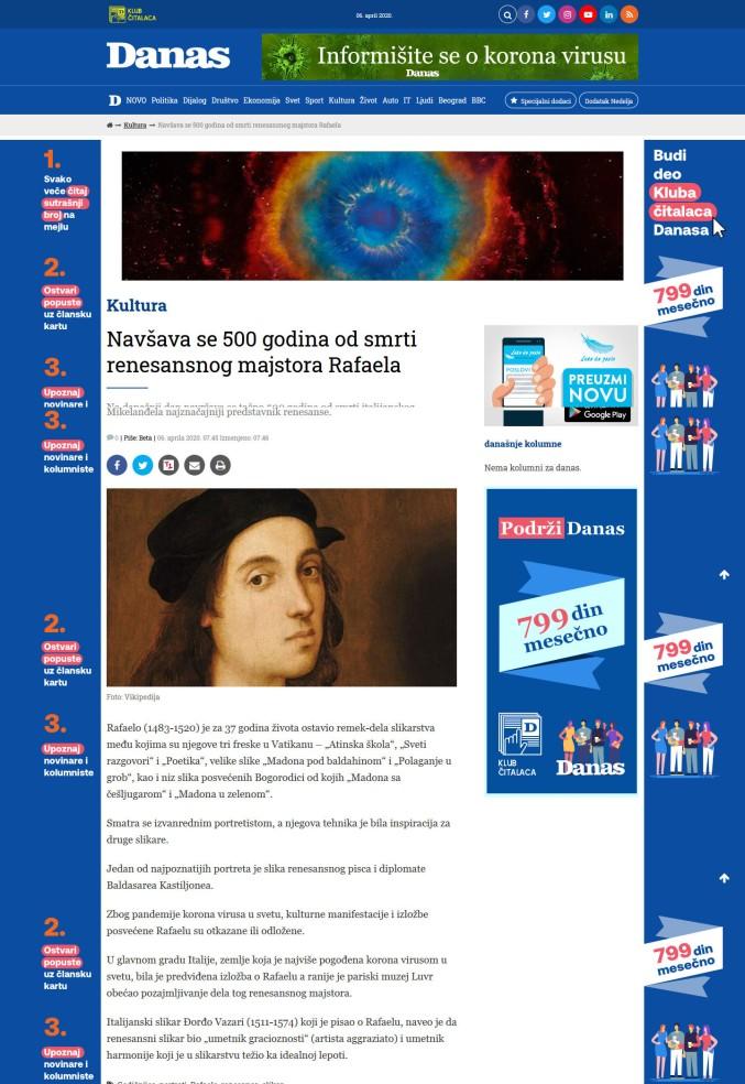 0604 - danas.rs - Navrsava se 500 godina od smrti renesansnog majstora Rafaela