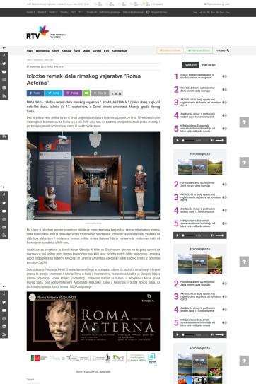 0709 - rtv.rs - Izlozba remek dela rimskog vajarstvaRoma Aeterna