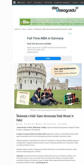 2001 - danubeogradu.rs - Skolovanje u Italiji- Sajam obrazovanja Study Abroad. In Italia