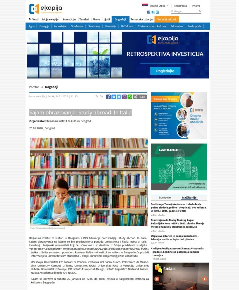 2501 - ekapija.com - Sajam obrazovanja,Study abroad. In Italia